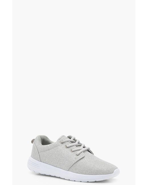 Boohoo - Metallic Shimmer Speckled Trainers - Lyst