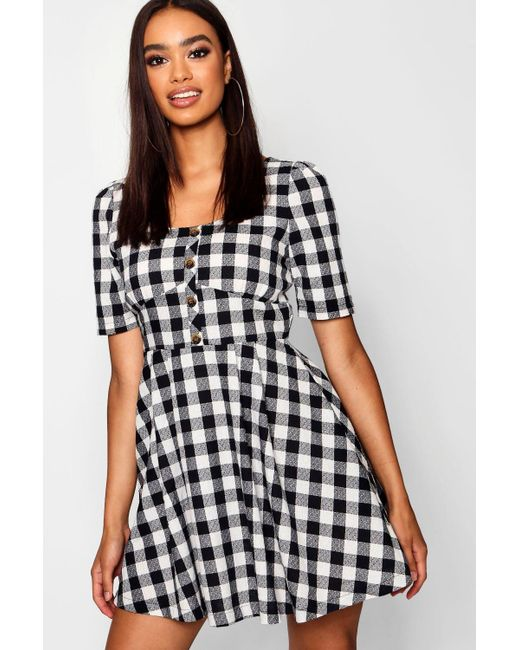 40694fc2431bd Boohoo - Black Button Front Check Puff Sleeve Skater Dress - Lyst ...
