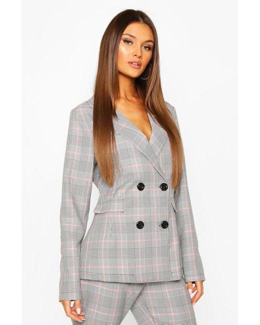 Boohoo Pink Womens Flannel Tailored Blazer
