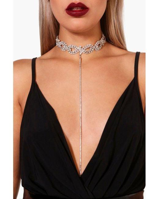 Boohoo - Metallic Plus Diamante Plunge Choker - Lyst