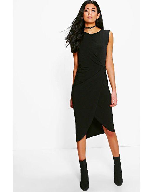 Boohoo | Black Lexi Drape Midi Dress | Lyst