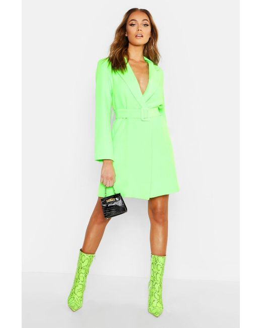 9968abc933556 Boohoo - Green Neon Belted Blazer Dress - Lyst ...