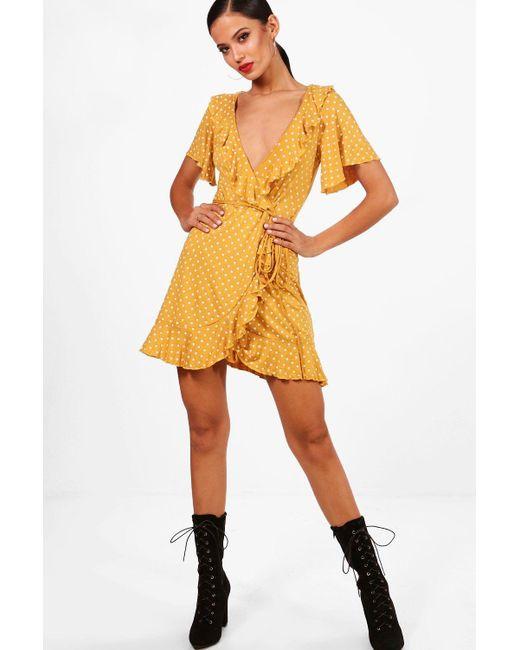 fd003c4110a49 Boohoo - Yellow Wrap Polka Dot Print Frill Detail Tea Dress - Lyst ...