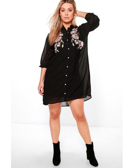 Boohoo   Black Plus Eva Embroidered Shirt Dress   Lyst