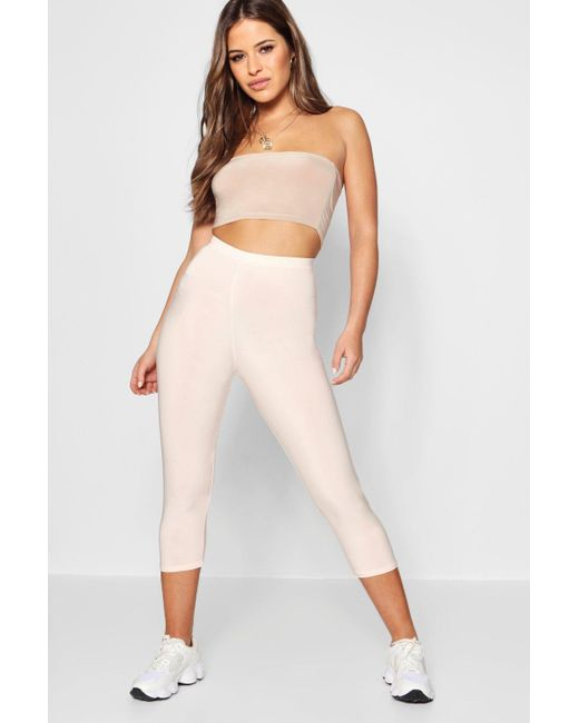 Boohoo - Natural Petite Slinky High Waisted 3⁄4 Legging - Lyst