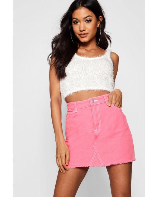 b5381041bba7 Boohoo - Pink Contrast Stitch Denim Mini Skirt - Lyst ...