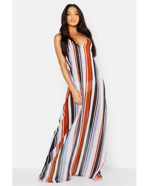 f8b3178670f4 Boohoo - Multicolor Stripe Beach Maxi Dress - Lyst ...