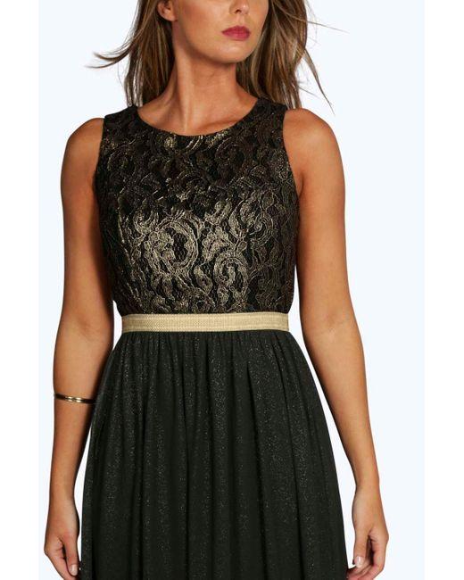 Boohoo Black Boutique Lace & Metallic Maxi Dress