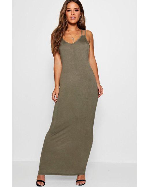 Boohoo - Green Petite Strappy Basic Maxi Dress - Lyst
