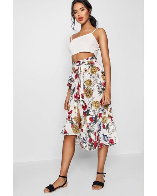 6f93243db0552 Boohoo - White Woven Floral Ruffle Belted Midi Skirt - Lyst ...