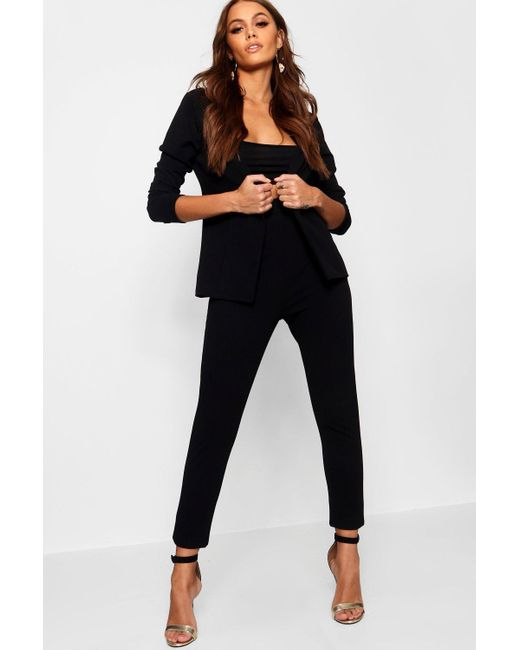 Boohoo Black Crepe Fitted Suit