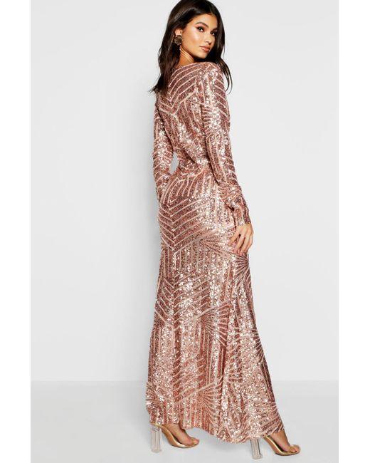 6e938cf7cd ... Boohoo - Black Boutique Mia Sequin   Mesh Plunge Neck Maxi Dress - Lyst