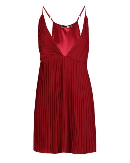 ... Boohoo - Red Pleated Skater Dress - Lyst d5d3fbbd4