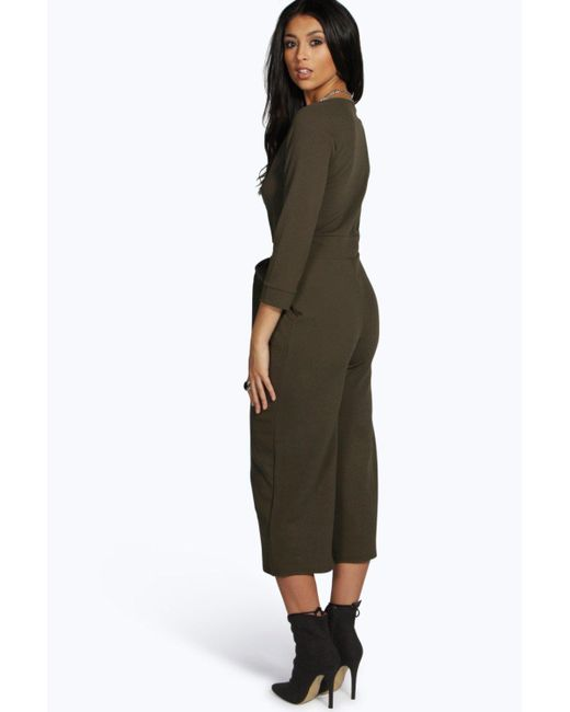 2c3785a06d8 ... Boohoo - Black Roll Sleeve Relaxed Culotte Jumpsuit - Lyst