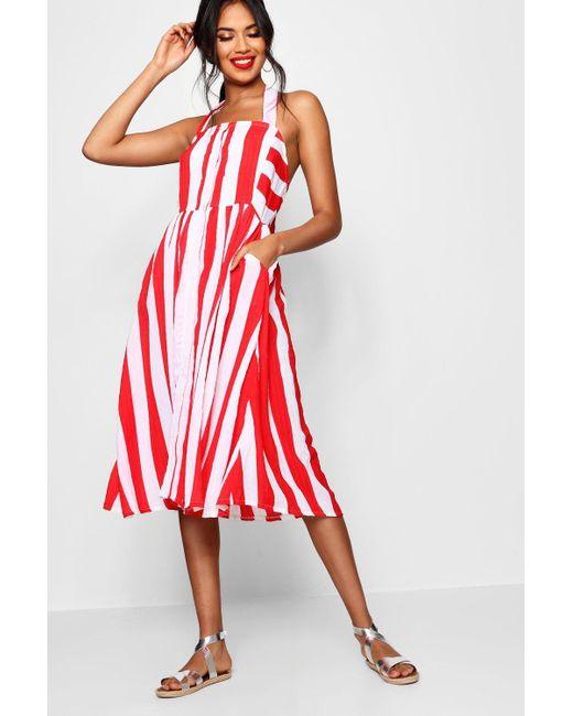 003e32cc309b Boohoo - Red Halterneck Striped Midi Dress - Lyst ...