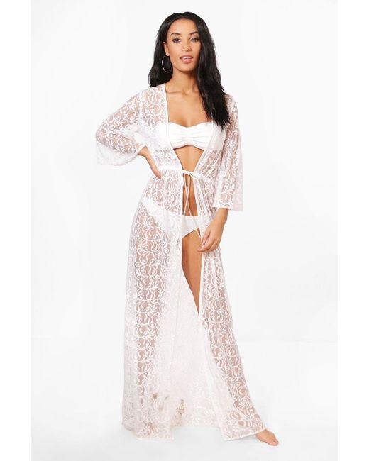 15450e9e090e Boohoo - Multicolor Lace Maxi Beach Kimono - Lyst ...