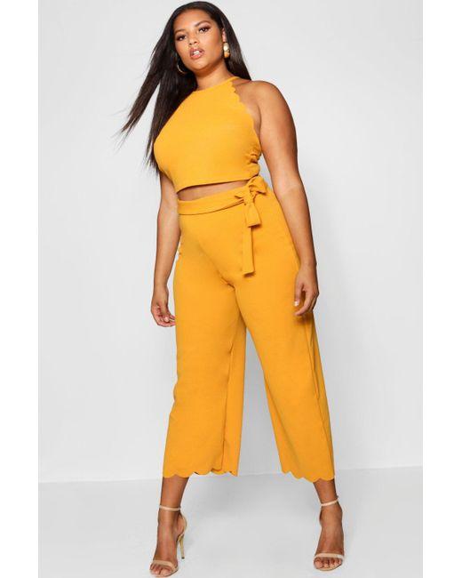 08c578b5fc547 Boohoo - Yellow Plus Scallop Edge Crop + Trouser Co-ord - Lyst ...