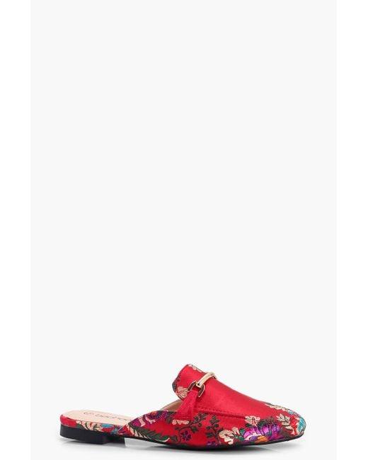 Boohoo | Red Amelie Oriental Print Mule Loafer | Lyst