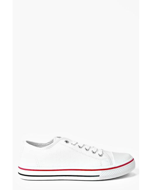 75753ec8cd01cd Boohoo - White Lace Up Canvas Flat Trainers - Lyst ...