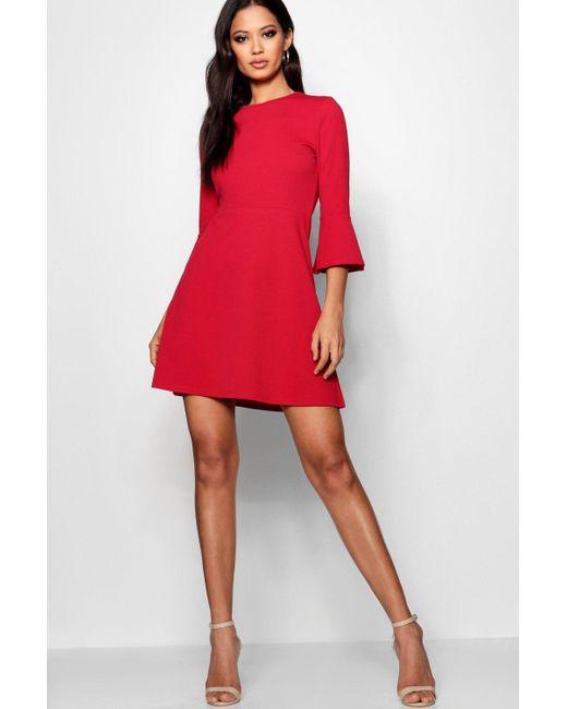 Boohoo - Red Flute Sleeve Skater Dress - Lyst