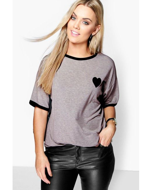 Boohoo Gray Plus Tipped T-shirt With Heart