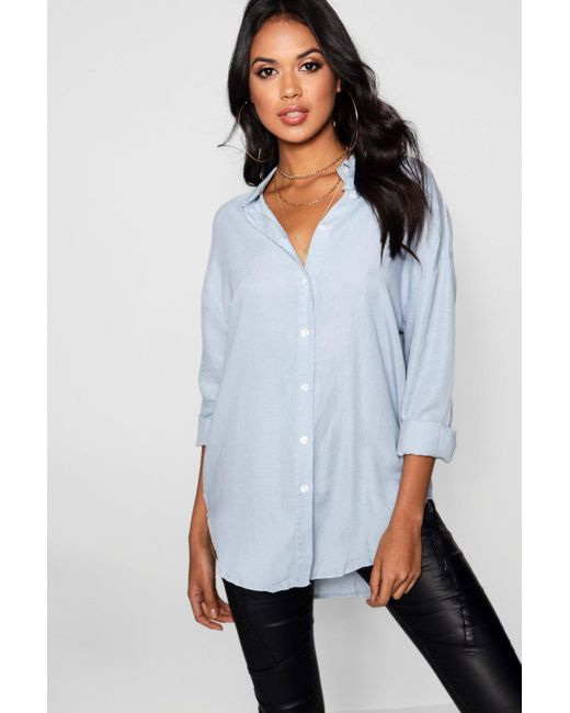 Boohoo - Blue Leah Oversized Soft Touch Denim Shirt - Lyst