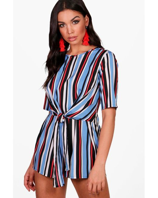 7790dec3e9 Boohoo - Blue Striped Front Playsuit - Lyst ...