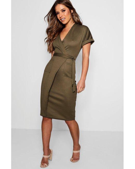 9ce969fa9e42 Boohoo - Green Petite Obie Tie Wrap Midi Dress - Lyst ...