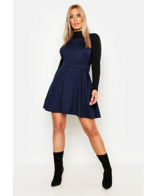 4407116c8b Boohoo - Blue Plus Cross Back Pinafore Dress - Lyst ...