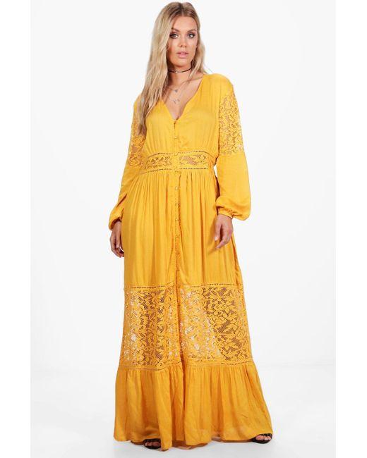 Lyst - Boohoo Plus Boho Lace Insert Maxi Dress in Yellow