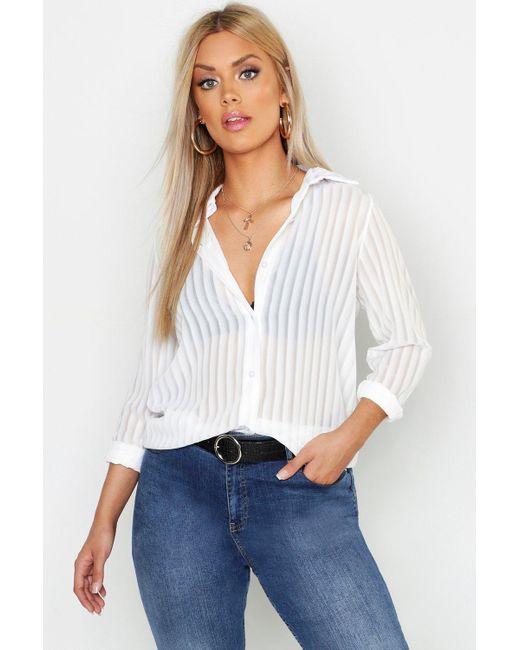 Boohoo White Plus Burn Out Stripe Shirt