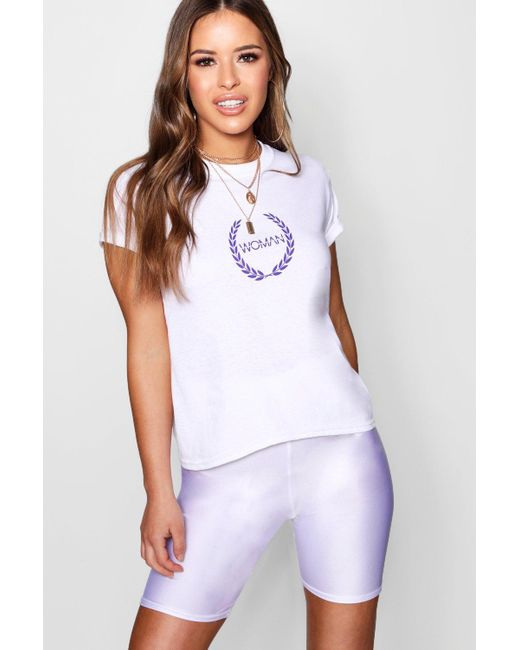 Boohoo - White Petite Woman Printed T-shirt - Lyst