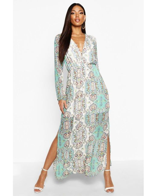 Boohoo Multicolor Womens Cage Detail Paisley Woven Maxi Dress