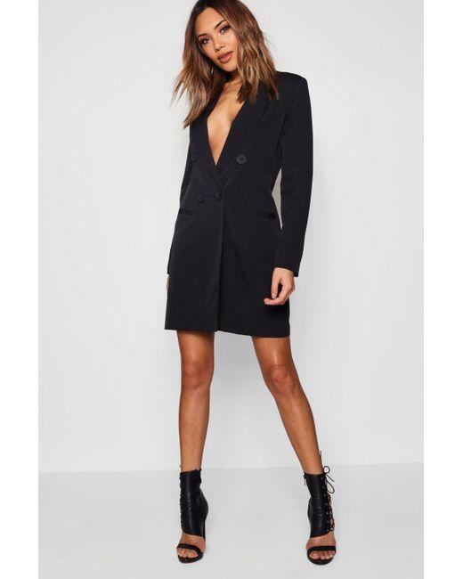 a25ba1441d1f Boohoo - Black Double Breasted Blazer Dress - Lyst ...