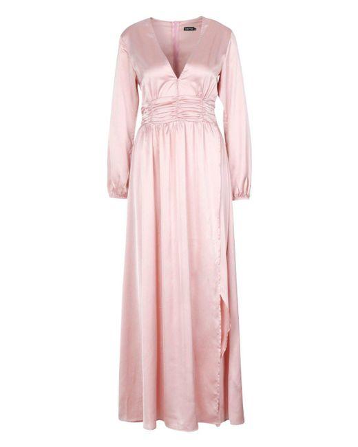 243b5c64884 ... Boohoo - Pink Satin Long Sleeve Split Detail Maxi Dress - Lyst