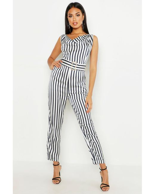 0c7e502b9bc Boohoo - Blue Stripe Cowl Belted Jumpsuit - Lyst ...