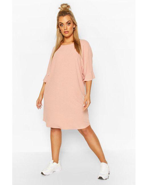 Boohoo Multicolor Plus Ruffle Sleeve Soft Rib T-shirt Dress