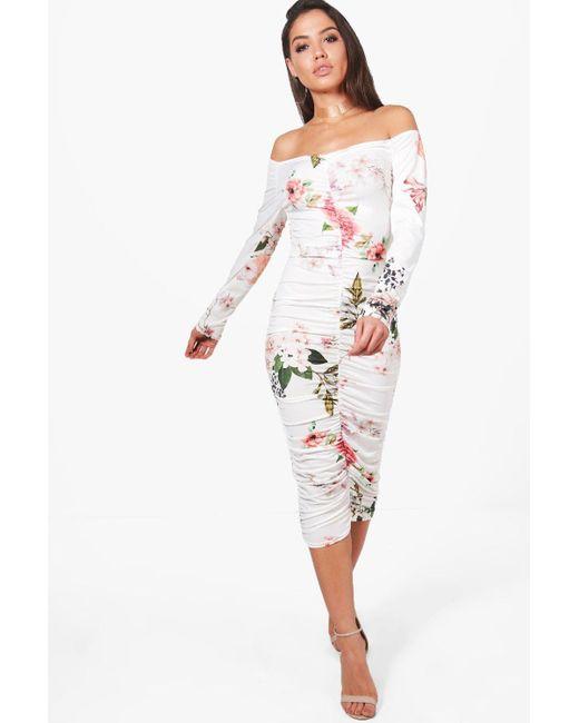 Boohoo | Multicolor Fiona Floral Off Shoulder Midi Dress | Lyst