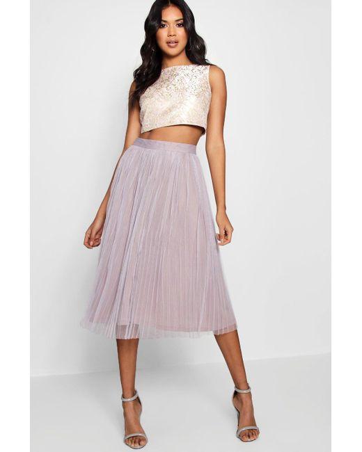 Boohoo - Purple Boutique Jacquard Top Midi Skirt Co-ord Set - Lyst