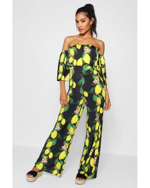 338372af3ec3 Boohoo - Black Lemon Print Cullote Jumpsuit - Lyst ...