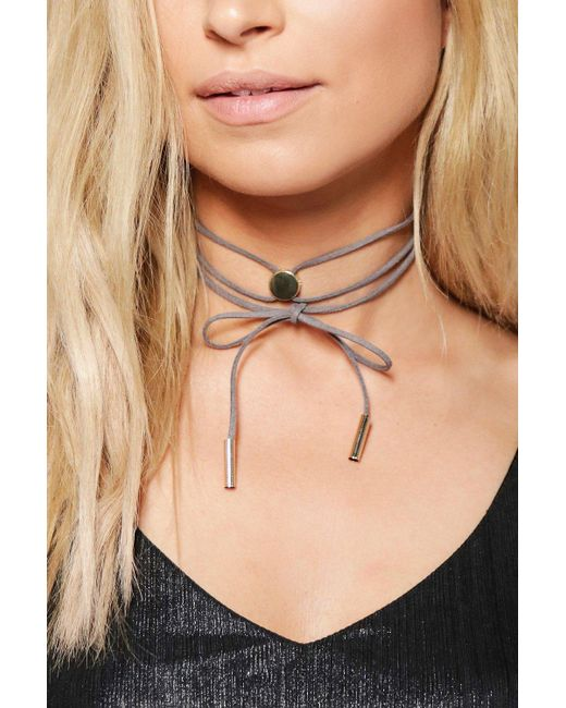 Boohoo   Gray Frances Concho Style Wrap Tie Choker   Lyst