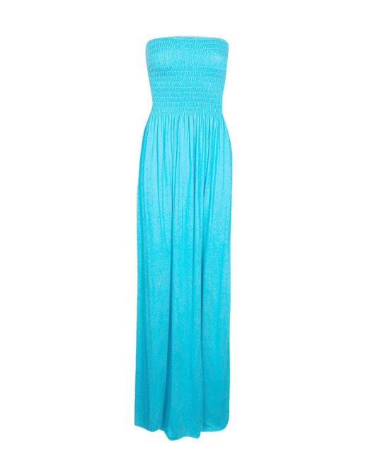 Boohoo Blue Shirred Bandeau Maxi Dress