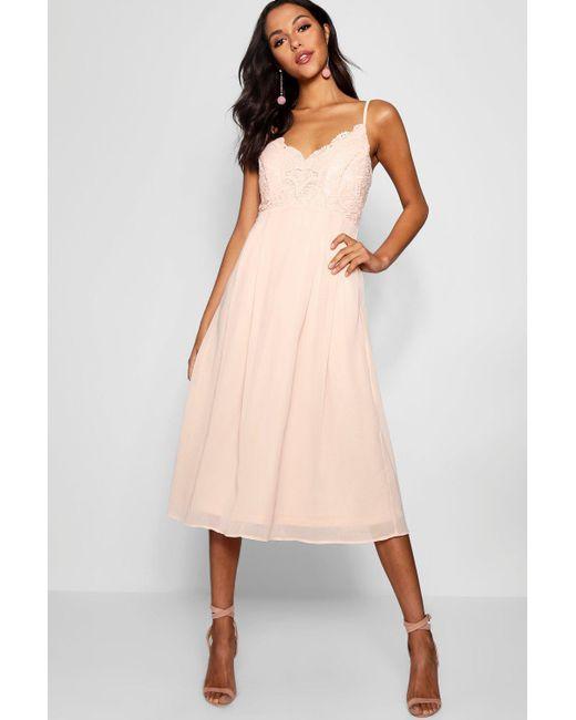 a07479b11899f Boohoo - Pink Crochet Lace Top Chiffon Midi Dress - Lyst ...