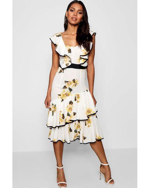 3296f69386d11 Boohoo - Multicolor Larisa Floral Ruffle Detail Midi Dress - Lyst ...