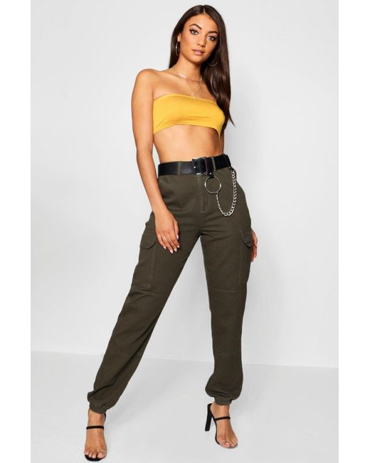 ce0fc05838cd8 Boohoo - Multicolor Tall Denim Cuffed Utility Trousers - Lyst ...