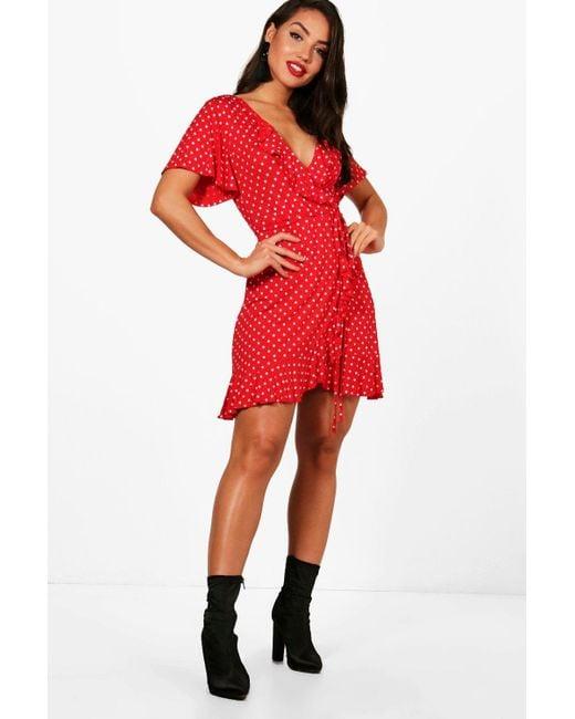 7969422cdfe7 Boohoo - Red Alana Wrap Spot Print Frll Detail Tea Dress - Lyst ...