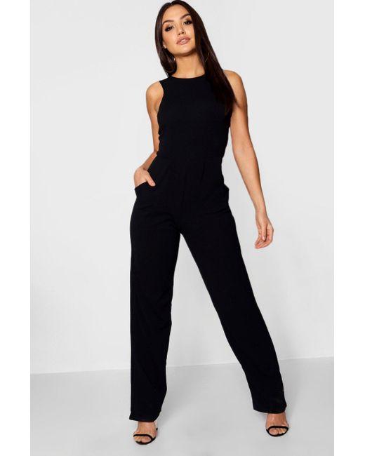 Boohoo - Black Round Neck Textured Jumpsuit - Lyst