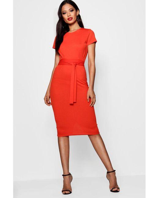 Boohoo - Orange Pleat Front Belted Tailored Midi Dress - Lyst