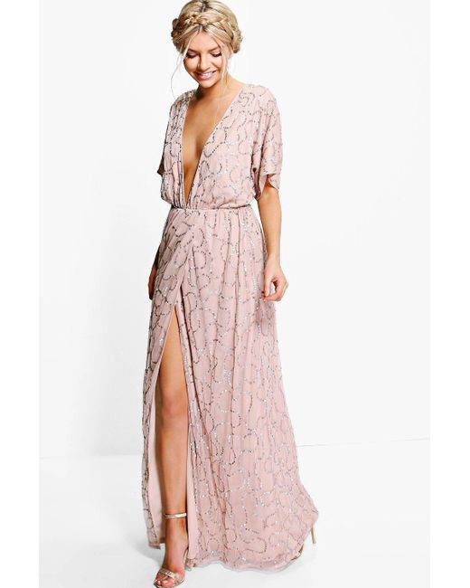 4a7e86d018e Boohoo Boutique Sequin Plunge Maxi Dress in Pink - Save 40% - Lyst