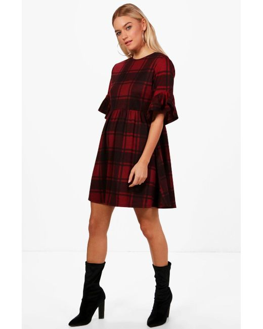 c874e3e7e352 Boohoo - Red Tartan Frill Sleeve Smock Dress - Lyst ...